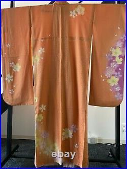 Furisode Kimono Silk Orange Cherry Blossom Dress Vintage from japan No, 448