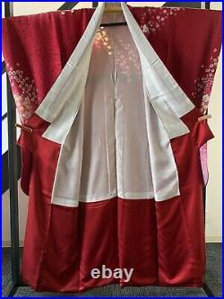 Furisode Kimono Silk red Cherry Blossom Dress Vintage from japan No, 441