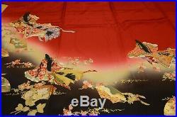 Furisode Silk Kimono Women Japanese Vintage Red Robe Princess 163cm /819