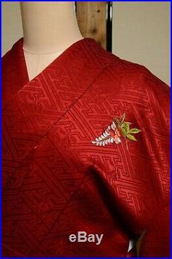 Furisode Silk Kimono Women Japanese Vintage Robe Red Embroidery 158cm /732