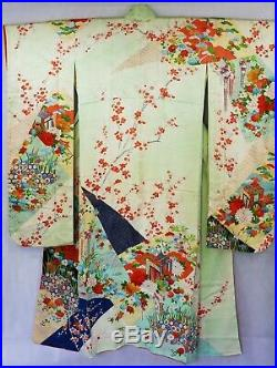 Furisode Traditional Japanese kimono pure silk vintage cherry blossom gown
