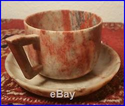 GEMSTONE CUP vtg red jade teacup & saucer chinese japanese carved stone tea art