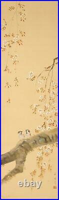 HANGING SCROLL JAPANESE PAINTING JAPAN Cherry Tree SPARROW VINTAGE ART 799p