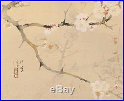 HANGING SCROLL JAPANESE PAINTING JAPAN Cherry blossom Bird Old art VINTAGE d487