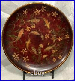Hand-Painted Charger Plate Koi on Wood 26 Round with Stand Red With Gold Accent
