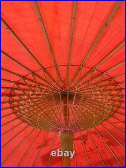 Hand painted Parasol, bamboo umbrella, Vintage Japanese Bamboo Parasol, Asia Art