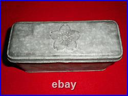 Imperial Japanese Navy Tin Can Case Cherry blossom WW2 Era Vintage From JPN Rare