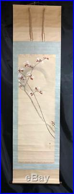JAPANESE ART PAINTING MOON CHERRY VINTAGE HANGING SCROLL JAPAN OLD c907