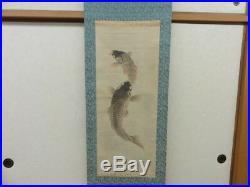 JAPANESE PAINTING CARP Hanging Scroll Antique Cherry AGED ART Japan c977