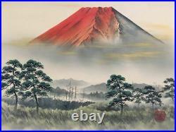 JAPANESE PAINTING HANGING SCROLL JAPAN Red Mt Fuji MOUNTAIN ANTIQUE VINTAGE 031m
