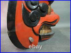 Japanese Antique Lion Dance Head Face Wood Carving Shishimai Red From JAPAN