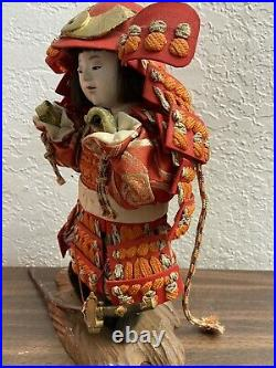 Japanese Antique Vintage Samurai doll with Sword Circa World War Two Very Nice