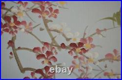 Japanese Asian Geisha Cherry Bamboo Art 20x24 Signed Original Painting VTG 80s