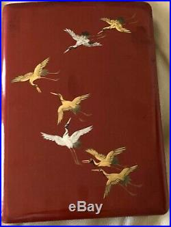 Japanese Document Box Wood Red Orange Lacquer Gold Cranes Flying Vintage Antique