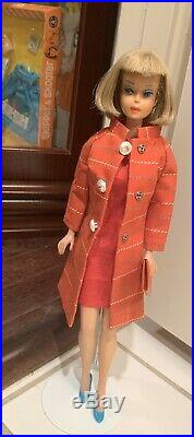 Japanese Exclusive Vintage Barbie Striped Coat And Red Silk Glamour Dress Set