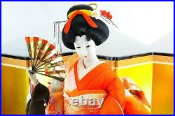 Japanese Geisha Doll in Kimono 22 58cm wooden base Vintage Stunning NEAR MINT