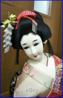 Japanese Geisha Maiko on wooden base BEAUTIFUL vintage! Bijin 22 58cm Red