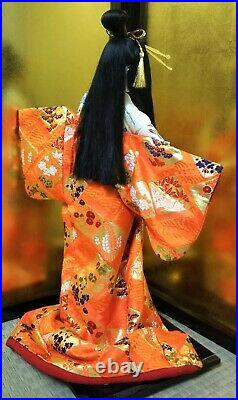 Japanese Geisha doll with hats in Kimono 17 on wooden base BEAUTIFUL vintage