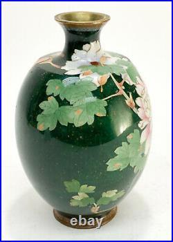 Japanese Green Cloisonne Enamel & Gilt Metal Vase, Gardenia or Rose Flowers