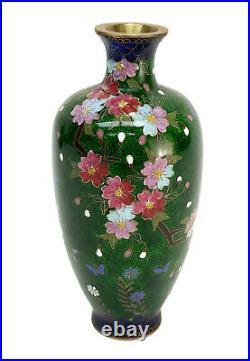 Japanese Green Cloisonne Enamel Ginbari and Gilt Metal Vase, Cherry Blossoms