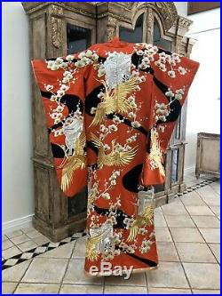 Japanese Kimono CEREMONIAL Vintage Authentic Red Gold Silk 1940s Japan