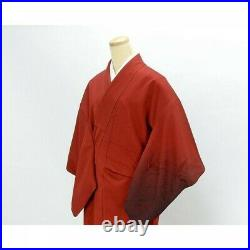Japanese Kimono Houmongi Red Artist Works Visiting Dress Vintage u167