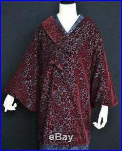 Japanese Kimono Long Coat Jacket Flower Wine Red Velvet Vintage912