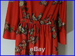 Japanese Kimono Style Dress Floral Bird Print Long Dress Lucite Buttons VTG 60s