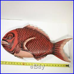 Japanese Lacquer Fish Sea Bream Tai Lidded Bowl 23 Vintage Red Candy Dish Wall