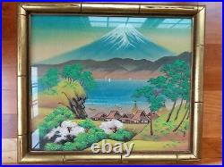 Japanese Landscape Watercolor Painting Silk Cherry Blossom Mount Fuji Vtg Signed