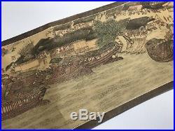 Japanese Long Landscape Scroll Vtg Makimono Hand Paint Kanji Red Stamp Rare h268