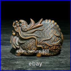 Japanese Netsuke Collectible Old Boxwood Vintage Carved Dragon Ornament Statue