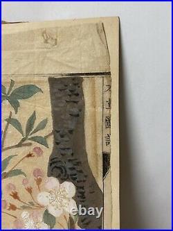Japanese Original Brush Painting Watercolor Cherry Tree Blossom Signed Vtg