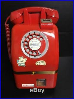Japanese Public Phone 10 Yen Red Telephone Payphone Vintage Piggy Bank Retro F/S