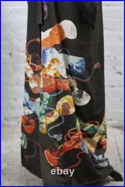 Japanese Pure Silk 1940's Shale Embroidered Tomesode Kimono with Red Lining