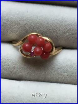 Japanese Red Coral Ruby Vintage Ring Size 11 Gold 19K