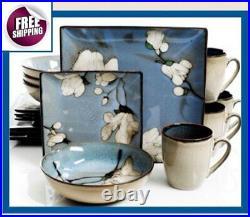 Japanese Style Set Dinnerware 16 Pcs Dishes Plate Mug Vintage Modern Floral New