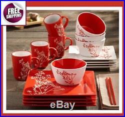 Japanese Style Set Dinnerware 16 Pcs Dishes Plate Mug Vintage Modern White Red
