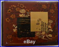 Japanese Vintage 1897 (50) Photograph Album Tamamura Red Lacquer Cover 8 x 10