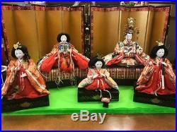 Japanese Vintage Emperor dolls dolls Silk Kimono Gofun 1960s