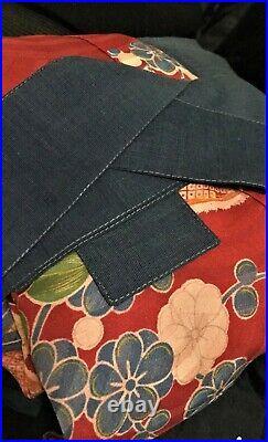 Japanese Vintage Floral Silk Kimono Red Blue Belt & Collar Fabulous Duster Coat