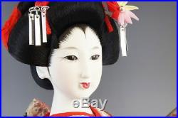 Japanese Vintage Geisha Doll Kimono Girl Figure Maiko Figurine Red/Orange