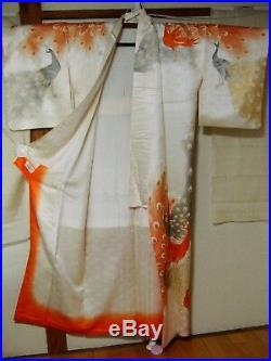 Japanese Vintage Kimono Houmongi Silk Gold Red aa16 005