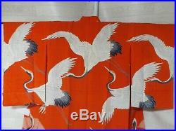 Japanese Vintage Kimono Nagajyuban Silk Red aa76 003