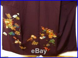 Japanese Vintage Kimono Tsukesage Silk Wine red aa77 007