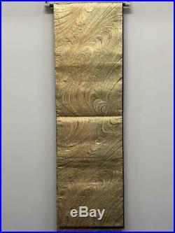 Japanese Vintage Obi reversible gold thread wave x red black gold rose