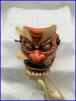 Japanese Vintage Tengu Noh Mask Pottery Good luck Kagura Bugaku Temple oni