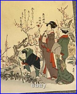 Japanese Wood Block Print Of Geisha, Cherry Blossom Katsushika Hokusai
