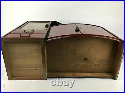 Japanese Wooden Chest of Drawers Vtg 2 Drawers Doors Brown Red T244