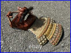 Japanese antique vintage life-size armor iron vermilion menpo Samurai red